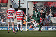 Mathieu Baudry (Doncaster Rovers) gets a shot away in the final seconds of the game, but it is wide during the EFL Sky Bet League 2 match between Doncaster Rovers and Plymouth Argyle at the Keepmoat Stadium, Doncaster, England on 26 March 2017. Photo by Mark P Doherty.