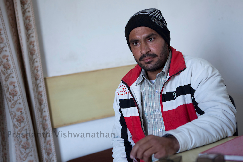 "Baljinder Singh, a former addict reacts at the  ""Navjeevan"" drug rehabilitation center office in Amritsar, India, on Wednesday, December 15, 2010. Photographer: Prashanth Vishwanathan/HELSINGIN SANOMAT"