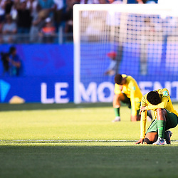Team of South Africa looks dejected after defeat during the Women's World Cup match between Germany and South Africa at Stade de la Mosson on June 17, 2019 in Montpellier, France. (Photo by Alexandre Dimou/Icon Sport)