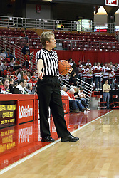 03 March 2013:  Referee Becky Blank points to the inbound spot during an NCAA Missouri Valley Conference (MVC) women's basketball game between the Missouri State Bears and the Illinois Sate Redbirds at Redbird Arena in Normal IL