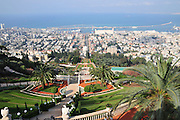 Israel, Haifa, The gardens of the Bahai Shrine downtown Haifa in the background