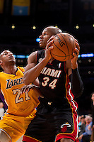 17 January 2013: Guard (34) Ray Allen of the Miami Heat looks to pass while being guarded by (21) Chris Duhon of the Los Angeles Lakers during the second half of the Heat's 99-90 victory over the Lakers at the STAPLES Center in Los Angeles, CA.