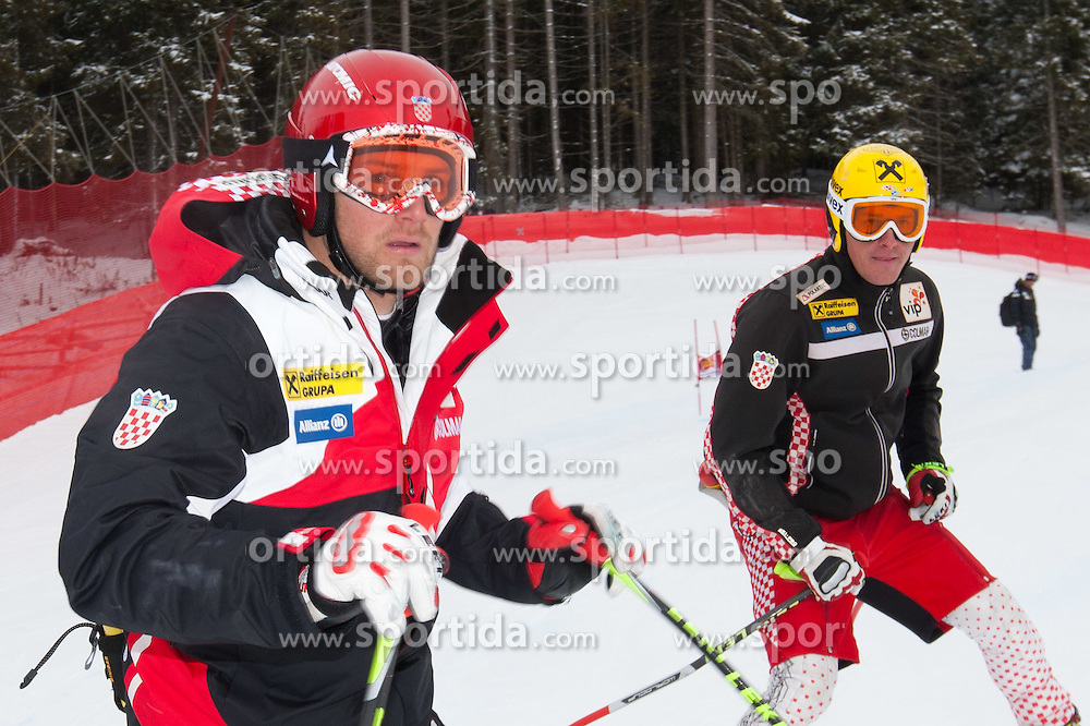 15.12.2011, Saslong, Groeden, ITA, FIS Weltcup Ski Alpin, Herren, Streckenbesichtigung vor dem 2. Training Abfahrt, im Bild Natko Zrncic-Dim (CRO) und Ivica Kostelic (CRO)// Natko Zrncic-Dim of Croatia and Ivica Kostelic of Croatia during course inspection before 2th practice session men's downhill at FIS Ski Alpine Worldcup at Saslong in Groeden, Italy on 2011/12/15. EXPA Pictures © 2011, PhotoCredit: EXPA/ Johann Groder