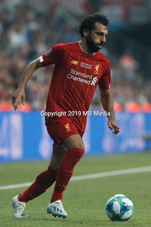 ISTANBUL, TURKEY - AUGUST 14: Mohamed Salah of Liverpool in action during the UEFA Super Cup match between Liverpool and Chelsea at Vodafone Park on August 14, 2019 in Istanbul, Turkey. (Photo by MB Media/Getty Images)