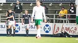 Falkirk's David McCracken celebrates after scoring their goal.<br /> Falkirk 1 v 0 Hibernian, Scottish Championship game played 6/12/2014 at The Falkirk Stadium .