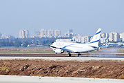 Israel, Ben-Gurion international Airport El Al Boeing 737-800 landing smoke from the tires is visible