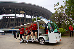 NANNING, CHINA - Sunday, March 25, 2018: Wales players Declan John, Ryan Hedges and Sam Vokes arrive for a training session at the Guangxi Sports Centre ahead of the 2018 Gree China Cup International Football Championship final match against Uruguay. (Pic by David Rawcliffe/Propaganda)