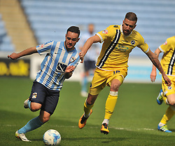 MARK BEEVERS MILLWALL, COVENTRYS ADAM ARMSTRONG GETS AWAT FROM MILLWALLS MARK BEEVERS, Coventry City v Millwall Sky Bet League One, Ricoh Arena, Saturday 16th April 2016<br /> Score 2-1