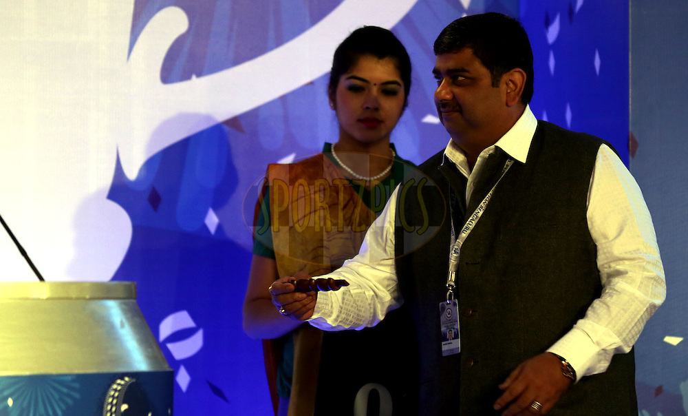 Ranjib Biswal IPL Chairman during the Pepsi IPL Player Auction held at the ITC Gardenia in Bengaluru, India on the 12th February 2014<br /> <br /> Photo by Sandeep Shetty/BCCI/SPORTZPICS