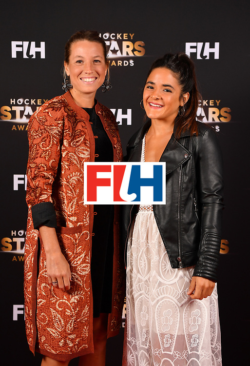 BERLIN, GERMANY - FEBRUARY 05:  Delfina Merino  and Maria Granatto  of Argentina pose for a picture during the Hockey Star Awards night at Stilwerk on February 5, 2018 in Berlin, Germany.  (Photo by Stuart Franklin/Getty Images For FIH)