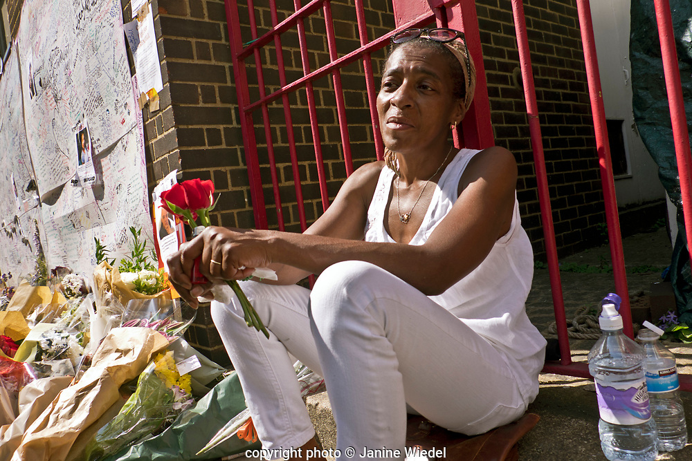 Maria Mendy , the cousin of  Mary Mendy and her daughter Khadya who were boh killed the fire that destroyed the 24-story Grenfell Tower in North Kensington, London on 14th June 2017.  The death toll officially at 75 but will no doubt rise to three figures.