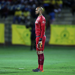 Reyaad Pieterse Goalkeeper of Mamelodi Sundowns during the Absa Premiership match between Golden Arrows and Mamelodi Sundowns at Princess Magogo Stadium on in Durban, South Africa. 18,09,2018 (Photo by Steve Haag)