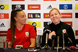 NEWPORT, WALES - Thursday, August 30, 2018: Wales' Natasha Harding and manager Jayne Ludlow during a press conference at Rodney Parade ahead of the final FIFA Women's World Cup 2019 Qualifying Round Group 1 match against England. (Pic by David Rawcliffe/Propaganda)