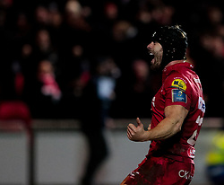 Scarlets' Leigh Halfpenny celebrates as the final whistle is blown<br /> <br /> Photographer Simon King/Replay Images<br /> <br /> European Rugby Champions Cup Round 6 - Scarlets v Toulon - Saturday 20th January 2018 - Parc Y Scarlets - Llanelli<br /> <br /> World Copyright © Replay Images . All rights reserved. info@replayimages.co.uk - http://replayimages.co.uk