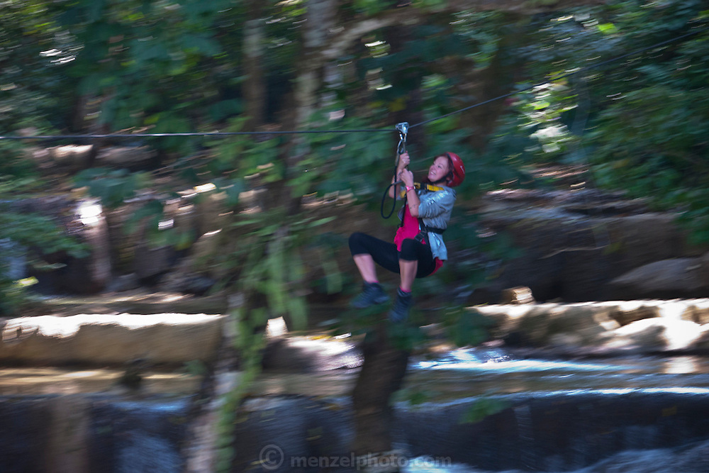 Zip line at Tad Sae Waterfall, near Luang Prabang, Laos.