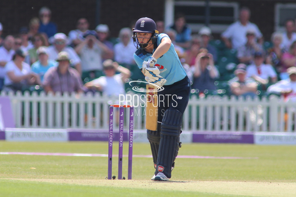 Heather Knight of England (5) plays a defensive shot during the Royal London Women's One Day International match between England Women Cricket and Australia at the Fischer County Ground, Grace Road, Leicester, United Kingdom on 4 July 2019.