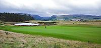 GLENEAGLES SCHOTLAND - Hole 3 van PGA Centenary Course  van Gleneagles.  Er zijn drie bannen van Gleneagles. De Queen's Corse, King's  Corse en de belangrijkste is de PGA Centenary Course. Op de PGA course wordt in 2014 de Ryder Cup gespeeld. Het Gleneagles Hotel heeft 5 sterren en het restaurant van Andrew Fairlie met 2 Michelin sterren. FOTO KOEN SUYK