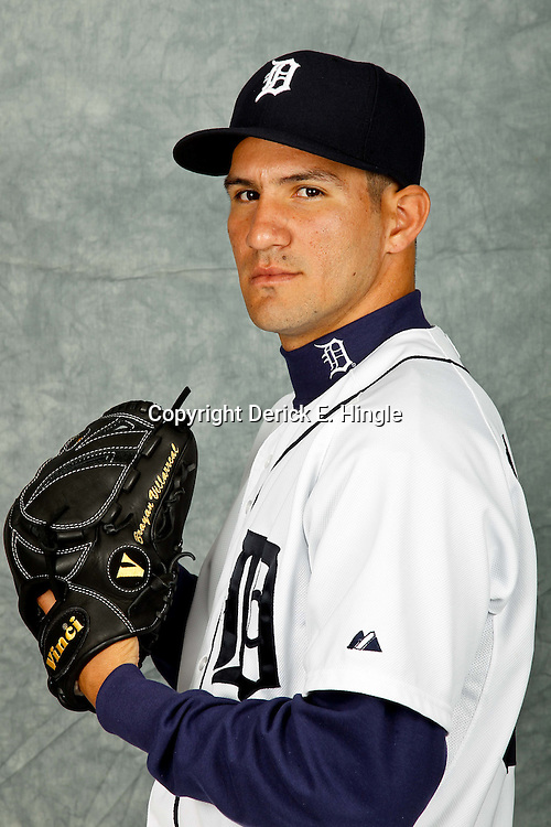 February 28, 2012; Lakeland, FL, USA; Detroit Tigers relief pitcher Brayan Villarreal (60) poses for photo day in the rec room at the Detroit Tigers Headquarters.  Mandatory Credit: Derick E. Hingle-US PRESSWIRE