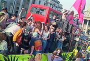 Ravers protest dancing on top of a truck at the First Criminal Justice March.Trafalgar Square,London,UK,1st of May 1994