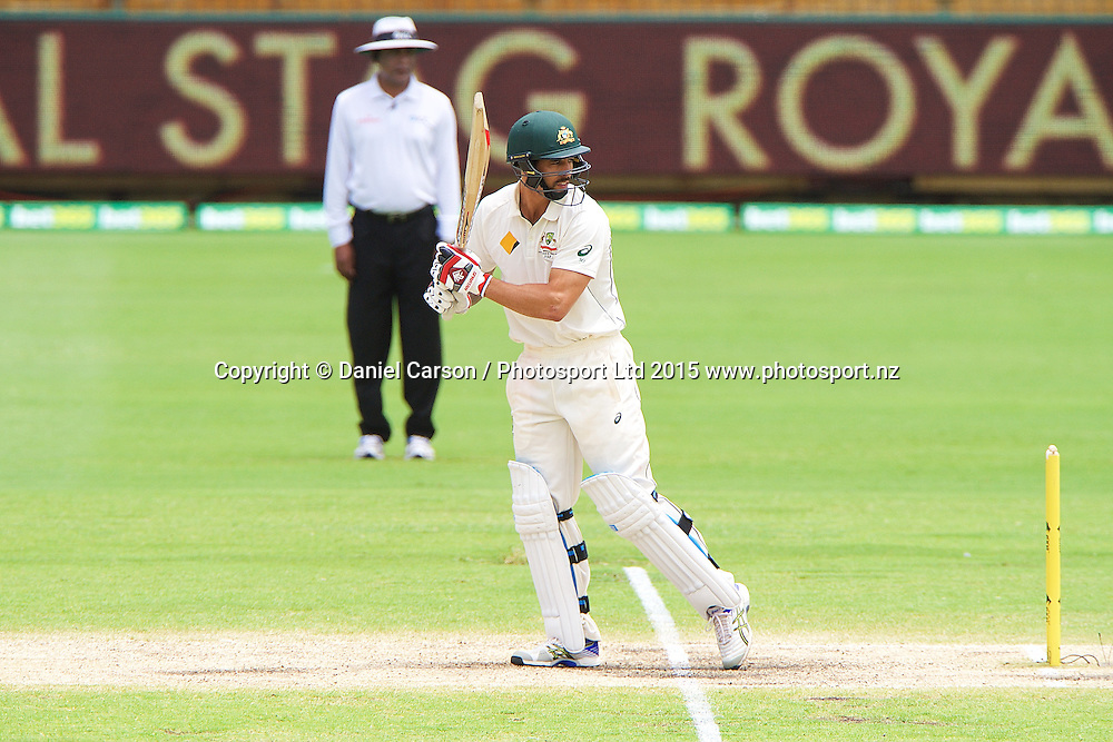 Mitchell Johnson of Australia watches the ball off the bat during Day 5 on the 17th of November 2015. The New Zealand Black Caps tour of Australia, 2nd test at the WACA ground in Perth, 13 - 17th of November 2015.   Photo: Daniel Carson / www.photosport.nz