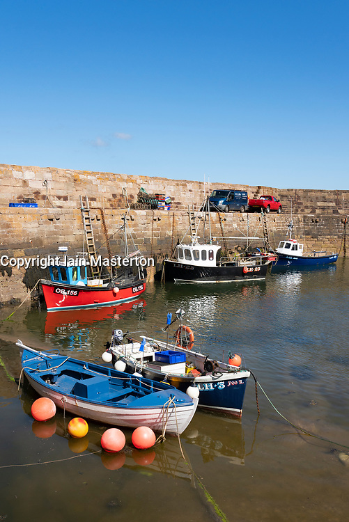 View of historic harbour at Cove near Cockburnspath in Berwickshire , Scottish Borders, Scotland ,UK - Editorial Use Only _