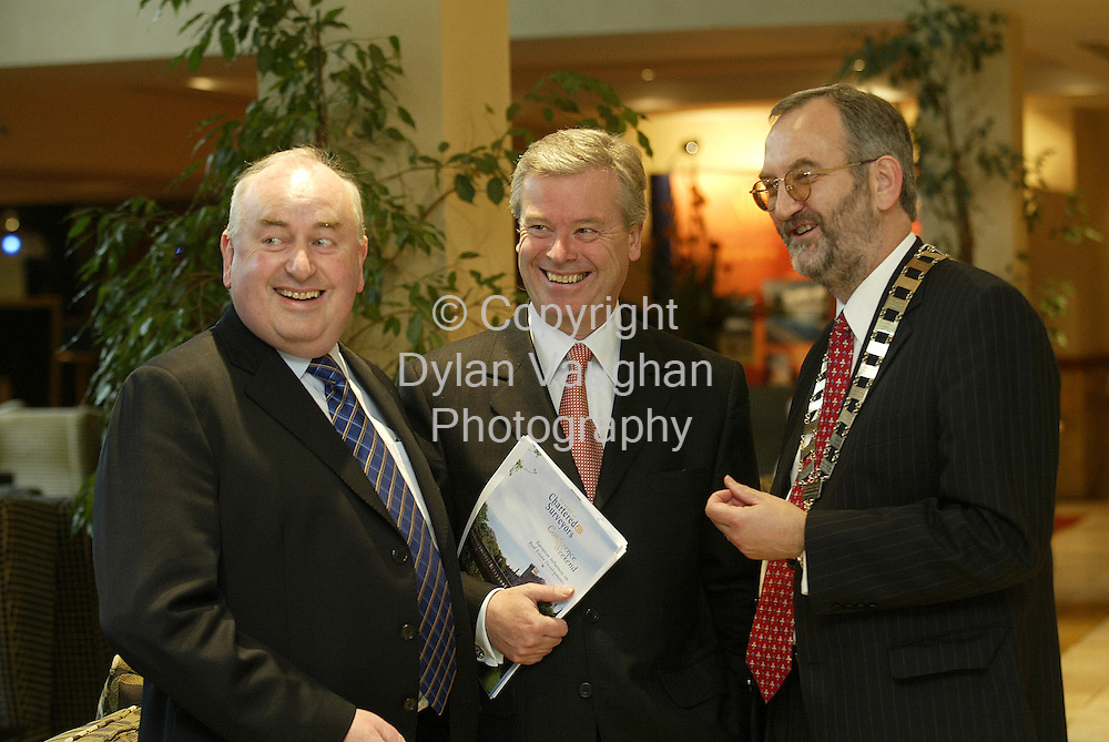 14/10/2002 Irish Independent Property.Pictured at the Society of Chartered Surveyors Annual Conference at the Kilkenny Ormonde Hotel was Desmond Byrne, Drohan Fanning and Partners, guest speaker David Byrne EU Commissioner for Health and Consumer Affairs and John Daly Society President ..Picture Dylan Vaughan