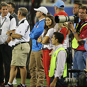 NASCAR driver Danica Patrick is seen on the sidelines with boyfriend Ricky Stenhouse Jr. during an NCAA football game between the Ole Miss Rebels and the Florida State Seminoles at Camping World Stadium on September 5, 2016 in Orlando, Florida. (Alex Menendez via AP)