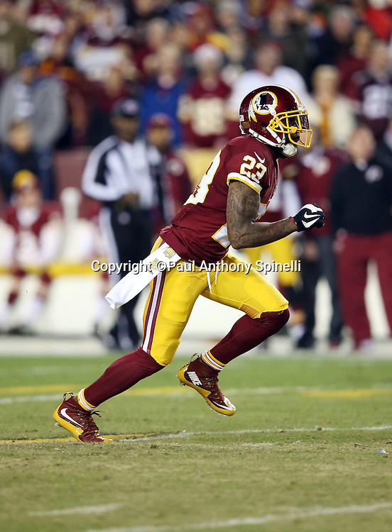Washington Redskins cornerback DeAngelo Hall (23) chases the action during the 2015 week 13 regular season NFL football game against the Dallas Cowboys on Monday, Dec. 7, 2015 in Landover, Md. The Cowboys won the game 19-16. (©Paul Anthony Spinelli)