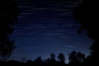 Star Trails Looking South. Composite of 250 images taken with a Nikon D850 camera and 19 mm f/4 PC-E lens (ISO 800, 19 mm, f/4, 8 sec). Raw images processed with Capture One Pro and the composite generated with Photoshop CC (Statistics, Maximum). [1751-2000]