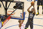 Golden State Warriors forward Kevin Durant (35) shoots the ball against the Houston Rockets during Game 4 of the Western Conference Finals at Oracle Arena in Oakland, Calif., on May 22, 2018. (Stan Olszewski/Special to S.F. Examiner)
