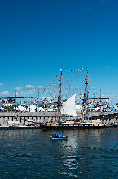 The Niagara tall ships moored in Old Montreal, Quebec