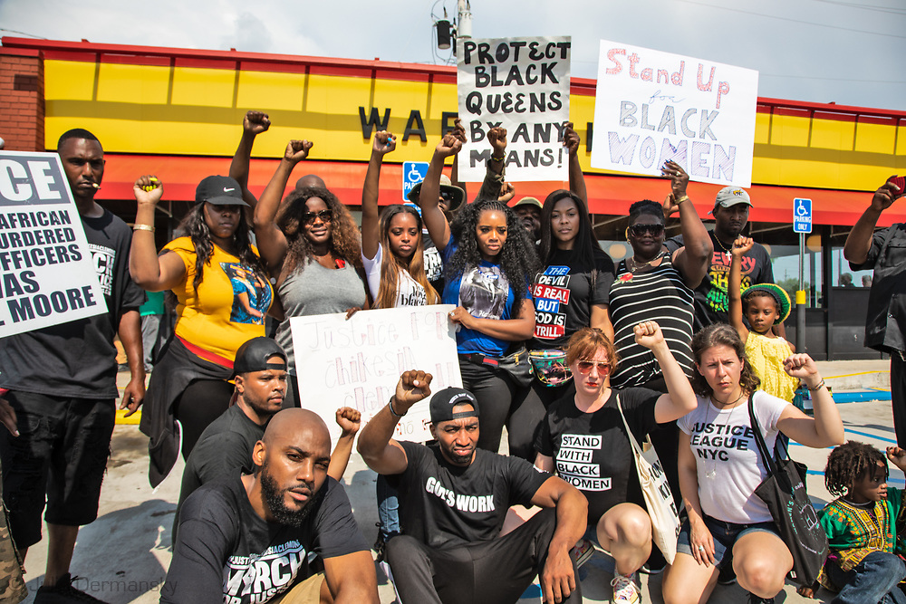 Saraland Alabama, May 20, 2018,<br /> supporters of Chikesia Clemons pose after a March for Justice for Chikesia Clemons. The group occupied the Waffle House before breaking up after laying out their demands for justice.