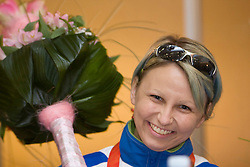 Mateja Pintar with bronze paraolympic medal at welcome ceremony at Airport Joze Pucnik, on September 20, 2008, in Brnik, Slovenia. (Photo by Vid Ponikvar / Sportal Images)./ Sportida)