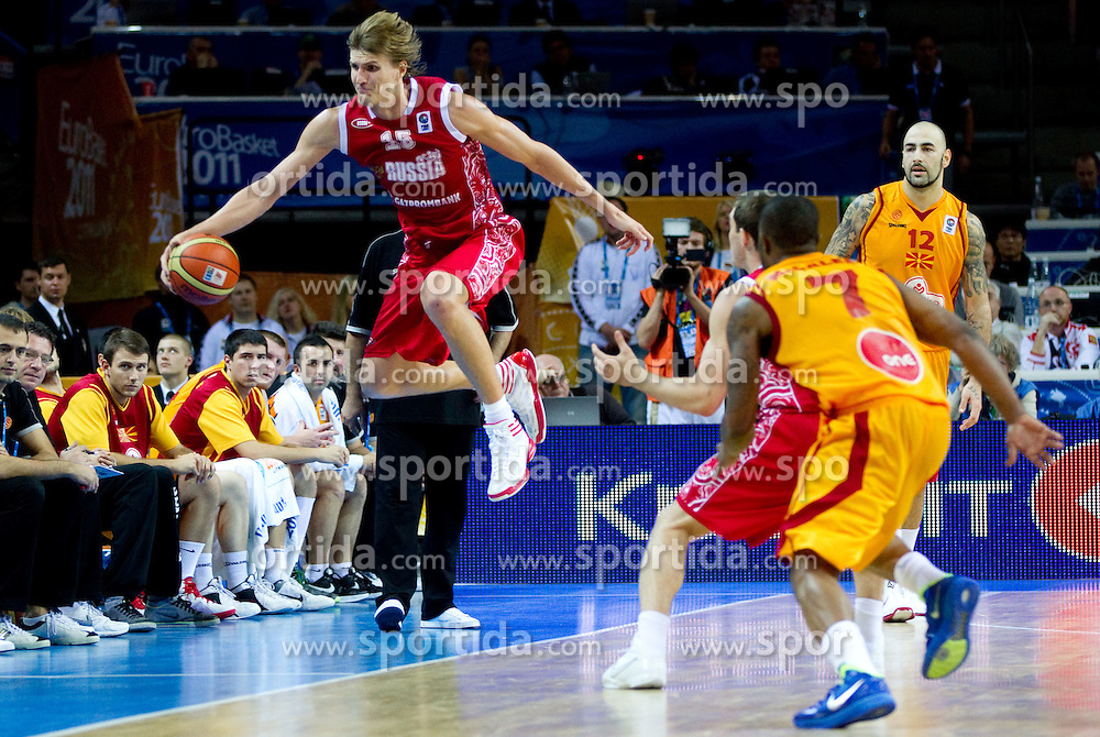 Andrei Kirilenko of Russia during basketball game between National basketball teams of F.Y.R. of Macedonia and Russia of 3rd place game of FIBA Europe Eurobasket Lithuania 2011, on September 18, 2011, in Arena Zalgirio, Kaunas, Lithuania. Russia defeated Macedonia 72-68 and won bronze medal. (Photo by Vid Ponikvar / Sportida)