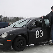BRUNSWICK, Maine -- 2/23/13 -- Mark Cummings of Bath stands with his Dodge Neon -- the car he raced and won at Saturday's Ice Race on the New Meadows. Photo by Roger S. Duncan.  .