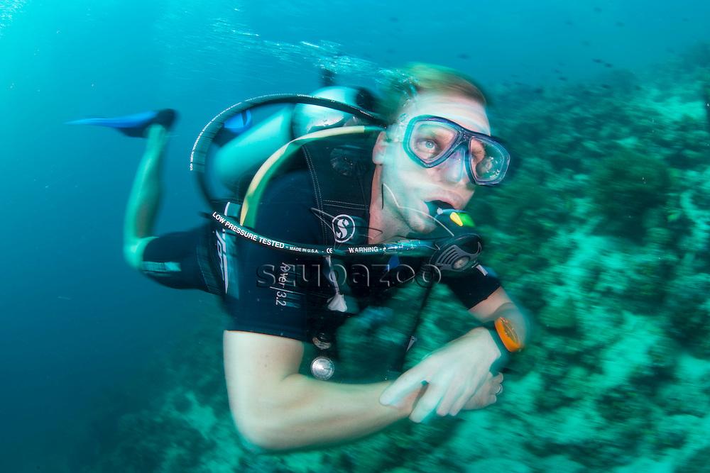 Scuba Diver, Mabul, Sabah, Malaysia, Borneo, Celebes Sea,
