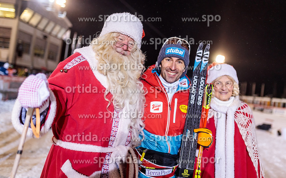 27.11.2016, Nordic Arena, Ruka, FIN, FIS Weltcup Nordische Kombination, Nordic Opening, Kuusamo, Langlauf, im Bild Wilhelm Denifl (AUT, 2. Platz) mit den Weihnachtsmann und seiner Frau // 2nd placed Wilhelm Denifl of Austria with the Santa Claus and his Wife during Cross Country of the FIS Nordic Combined World Cup of the Nordic Opening at the Nordic Arena in Ruka, Finland on 2016/11/27. EXPA Pictures © 2016, PhotoCredit: EXPA/ JFK