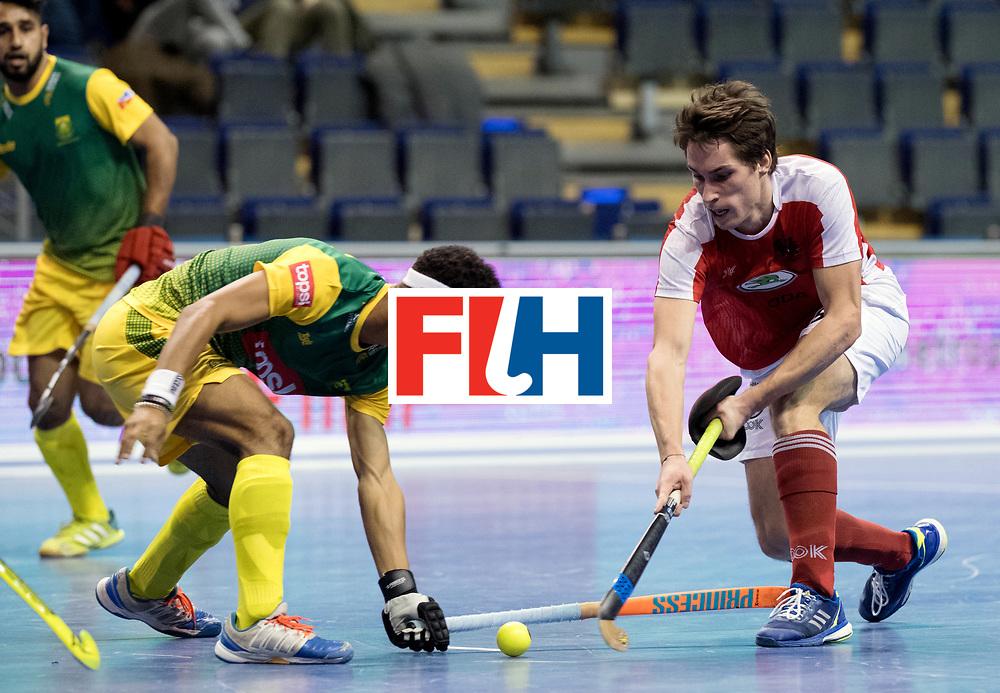 BERLIN - Indoor Hockey World Cup<br /> Men: Austria - South Africa<br /> foto: Dominic Uher.<br /> WORLDSPORTPICS COPYRIGHT FRANK UIJLENBROEK