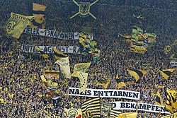 """25.10.2014, Signal Iduna Park, Dortmund, GER, 1. FBL, Borussia Dortmund vs Hannover 96, 9. Runde, im Bild Die Fans von Borussia Dortmund mit einem Apell gegen Rassismuss vot dem Spiel""""50 Spieler - 13 Nationen - 1 BVB""""""""United against Racism""""""""Nazis enttarnen und bekaempfen"""" // during the German Bundesliga 9th round match between Borussia Dortmund and Hannover 96 at the Signal Iduna Park in Dortmund, Germany on 2014/10/25. EXPA Pictures © 2014, PhotoCredit: EXPA/ Eibner-Pressefoto/ Schueler<br /> <br /> *****ATTENTION - OUT of GER*****"""
