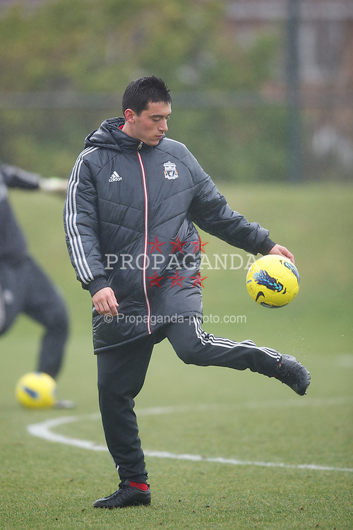 KIRKBY, ENGLAND - Friday, February 24, 2012: Liverpool's Nacho Jose Ortiz warms up before the FA Premier League Academy match against Everton at the Kirkby Academy. (Pic by David Rawcliffe/Propaganda)