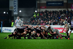 Exeter Chiefs and Gloucester Rugby compete in a scrum - Mandatory by-line: Ryan Hiscott/JMP - 14/02/2020 - RUGBY - Kingsholm - Gloucester, England - Gloucester Rugby v Exeter Chiefs - Gallagher Premiership