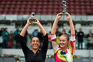 Caroline Garcia and Kristina Mladenovicduring the Madrid Open at Manzanares Park Tennis Centre, Madrid<br /> Picture by EXPA Pictures/Focus Images Ltd 07814482222<br /> 07/05/2016<br /> ***UK & IRELAND ONLY***<br /> EXPA-ESP-160507-0024.jpg