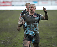 Micky Higham of Leigh Centurions celebrates the win over Batley Bulldogs to book there place in the next round draw during the Ladbrokes Challenge Cup match at Fox's Biscuits Stadium, Batley<br /> Picture by Stephen Gaunt/Focus Images Ltd +447904 833202