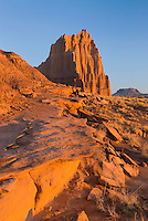 Temple of the Sun illuminated in the rising sun, Capitol Reef National Park Utah