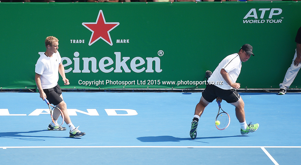 New Zealand's doubles pair of Finn Tearney and Wesley Whitehouse (R) on Day 1 at the Heineken Open. Festival of Tennis, ATP World Tour. ASB Tennis Centre, Auckland, New Zealand. Monday 12 January 2015. Copyright photo: Andrew Cornaga/www.photosport.co.nz