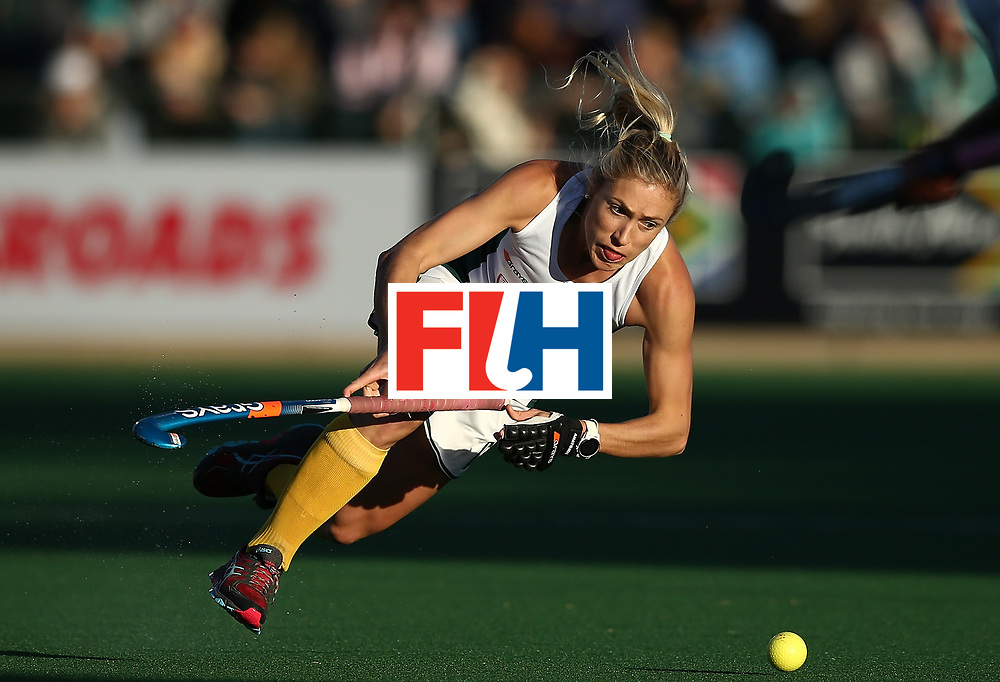 JOHANNESBURG, SOUTH AFRICA - JULY 16:  Shelley Jones of South Africa looses her footing during day 5 of the FIH Hockey World League Women's Semi Finals Pool B match between South Africa and United States of America at Wits University on July 16, 2017 in Johannesburg, South Africa.  (Photo by Jan Kruger/Getty Images for FIH)