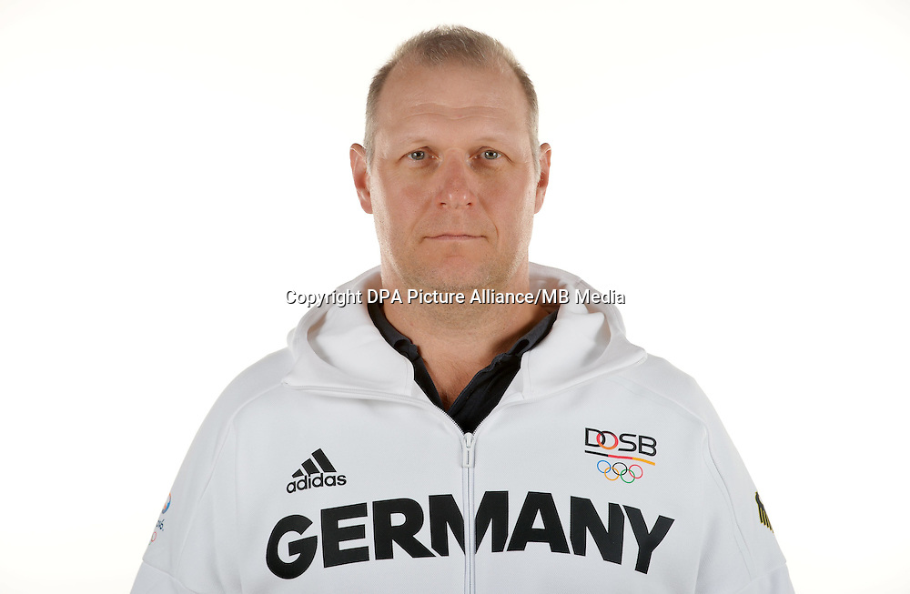 Sven Ueck poses at a photocall during the preparations for the Olympic Games in Rio at the Emmich Cambrai Barracks in Hanover, Germany. July 08, 2016. Photo credit: Frank May/ picture alliance. | usage worldwide
