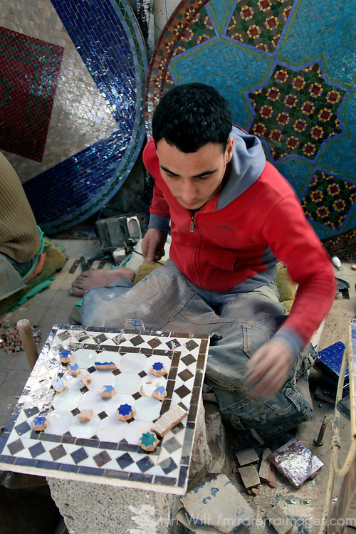 Africa, Morocco, Fes. Mosaic Artisan of Fes.