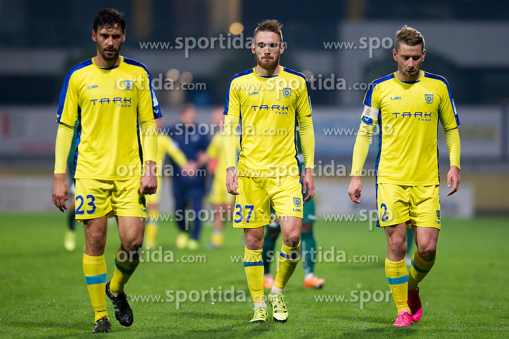 Lucas Mario Horvat (#23), Zan Majer (#37) and Nejc Skubic (#2) of NK Domzale during football match between NK Domzale and NK Krka in 14th Round of Prva liga Telekom Slovenije 2015/16, on October 17, 2015 in Sports park Domzale, Slovenia. Photo by Urban Urbanc / Sportida