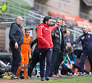 14th April 2018, Tannadice Park, Dundee, Scotland; Scottish Championship football, Dundee United versus Falkirk; Falkirk manager Paul Hartley has a bust up with Dundee United manager Csaba Laszlo at the end